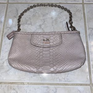 Coach Snake Leather Large Wristlet Lilac